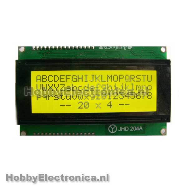 HD44780 20x4 LCD geel