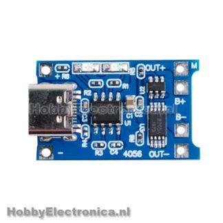 TP4056 USB-c Li-ion lader 1A